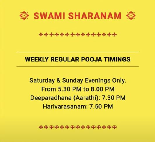 Pooja Timings Banner